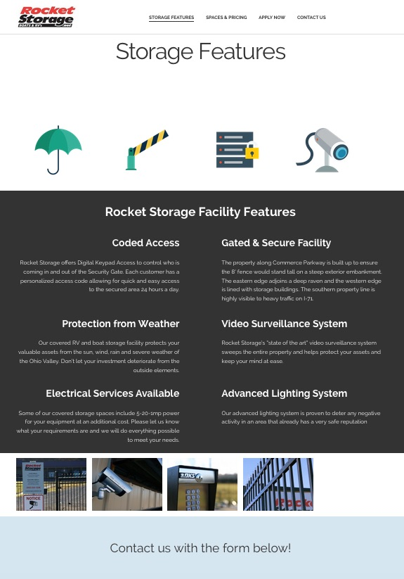 Storage Facility Website Development
